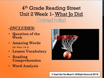 Reading Street 4th- Unit 2 Week 1 PowerPoint- What Jo Did