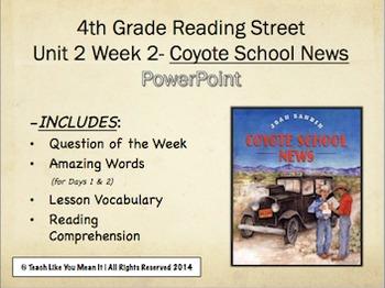 Reading Street 4th- Unit 2 Week 2 PowerPoint- Coyote School News