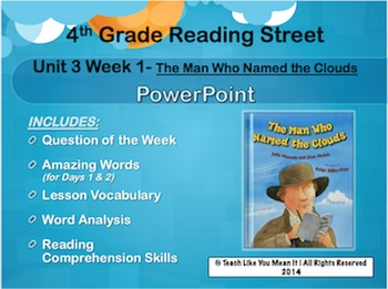 Reading Street 4th- Unit 3 Week 1 PowerPoint- Man Who Named The Clouds