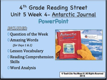 Reading Street 4th- Unit 5 Week 4 PowerPoint- Antarctic Journal
