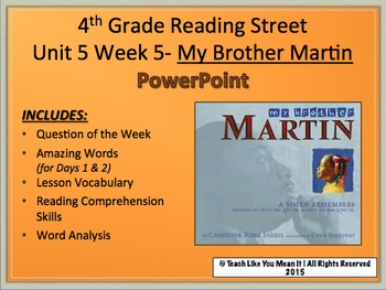 Reading Street 4th- Unit 6 Week 1 PowerPoint- My Brother Martin