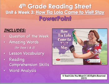 Reading Street 4th- Unit 6 Week 3 PowerPoint- How Tia Lola Came to (Visit) Stay