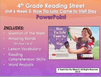 Reading Street 4th- Unit 6 Week 3 PowerPoint- How Tia Lola