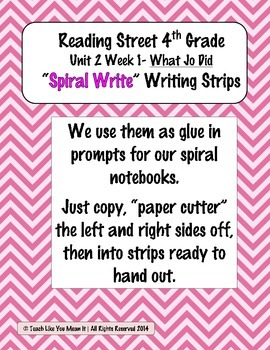 Reading Street 4th- Unit2 Week1 'Sprial Write' Strips for