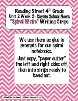 Reading Street 4th- Unit2 Week2 'Sprial Write' Strips for