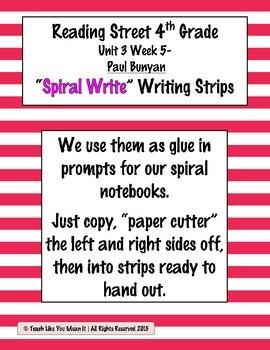 Reading Street 4th- Unit3 Week5 'Spiral Write' Strips for Paul Bunyan