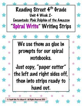 Reading Street 4th- Unit4 Week2 'Spiral Write' Strips for Encantado