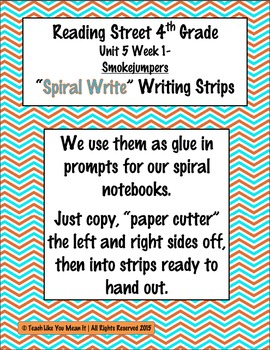 Reading Street 4th- Unit5 Week1 'Spiral Write' Strips for