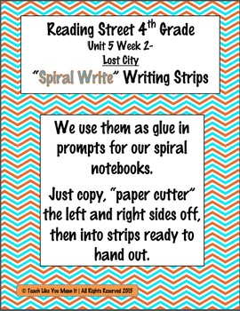 Reading Street 4th- Unit5 Week2 'Spiral Write' Strips for Lost City