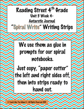 Reading Street 4th- Unit5 Week4 'Spiral Write' Strips for Antarctic Journal