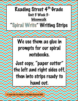 Reading Street 4th- Unit5 Week5 'Spiral Write' Strips for