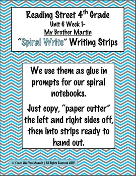 Reading Street 4th- Unit6 Week1 'Spiral Write' Strips for My Brother Martin