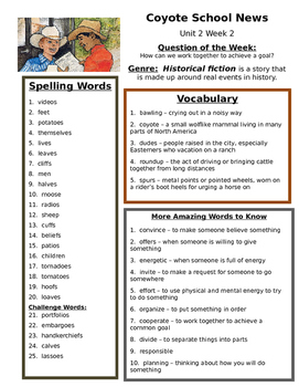 Reading Street 4th grade Unit 2 Study Guides centers group work aid