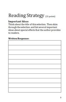 Reading Street 5.3 Week 5 Special Effects Reading Notes Organizer