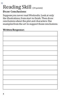 Reading Street 5.4 Week 1 Weslandia Reading Notes Organizer