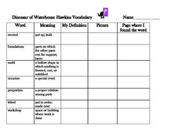 Reading Street 5 - Dinosaurs of Waterhouse Hawkins  Vocabulary Organizer