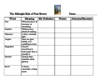 Reading Street 5 - Midnight Ride of Paul Revere Vocabulary Organizer