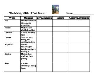 Reading Street 5 - Midnight Ride of Paul Revere Vocabulary