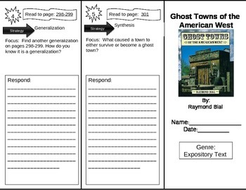 Reading Street 5th Grade Ghost Towns of the American West Trifold