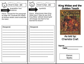 Reading Street 5th Grade King Midas and the Golden Touch Trifold