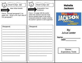 Reading Street 5th Grade Mahalia Jackson Trifold