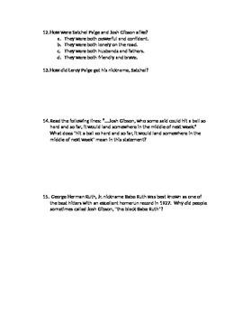 Reading Street 5th Grade Satchel Paige Comprehension Test