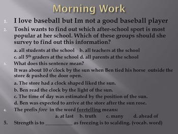 Reading Street 5th Grade - Satchel Paige Morning Work