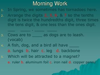 Reading Street 5th Grade - Thunder Rose Morning Work