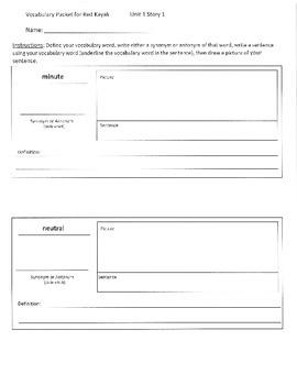 Reading Street 5th Grade Unit 1 Vocabulary Packets