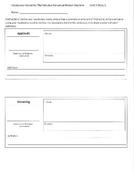 Reading Street 5th Grade Unit 3 Vocabulary Packets