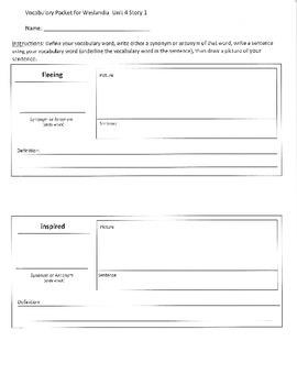 Reading Street 5th Grade Unit 4 Vocabulary Packets