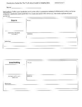 Reading Street 5th Grade Unit 6 Vocabulary Packets