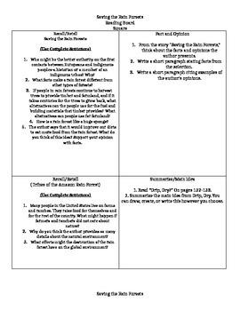 Reading Street 6th Grade Reading Response Questions Unit 1 Week 4
