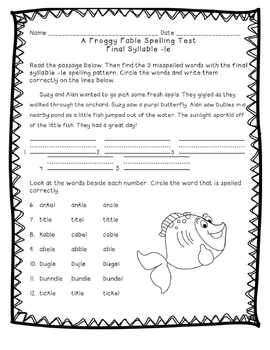 Reading Street: Unit 4 - A Froggy Fable Spelling Word Blocks and Test