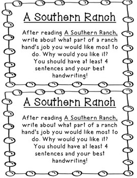 Reading Street A Southern Ranch 1.4.4 Comprehension Questions