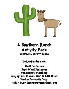 "Reading Street ""A Southern Ranch"" Activity Pack"