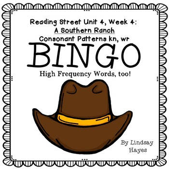 Reading Street: A Southern Ranch BINGO Consonant Patterns kn, wr