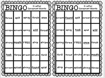 Reading Street: A Trip to Washington, D.C. BINGO 3 Letter Consonant Blends