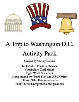 """Reading Street """"A Trip to Washington D.C."""" Activity Pack"""