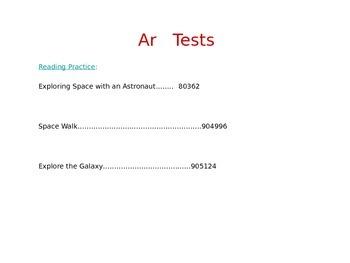 Reading Street AR Quiz numbers