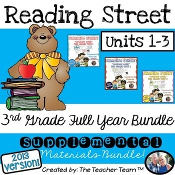 Reading Street 3rd Grade Unit 1-2-3 Half Year Bundle  Common Core 2013
