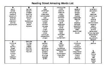 Reading Street Amazing Word LIst