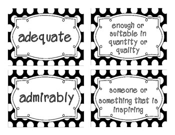 Reading Street Amazing Words & Definitions-Grade 3-Unit 1 Week 3 (Black Frame)