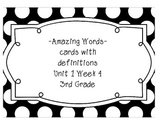 Reading Street Amazing Words & Definitions-Grade 3-Unit 1