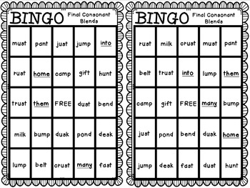 Reading Street: Animal Park BINGO Final Consonant Blends