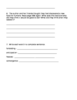 4th grade Reading Street Antartica Journal Comprehension Questions*Editable