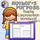 Author's Purpose Reading Comprehension Worksheet