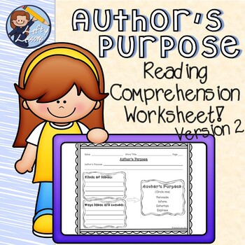 Author's Purpose Reading Comprehension Worksheet 2