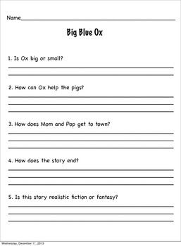 Reading Street Based Grade One Main Selection Comprehension Sheets