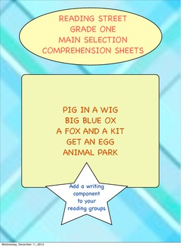 Reading Street Based Grade One Main Selection Comprehensio